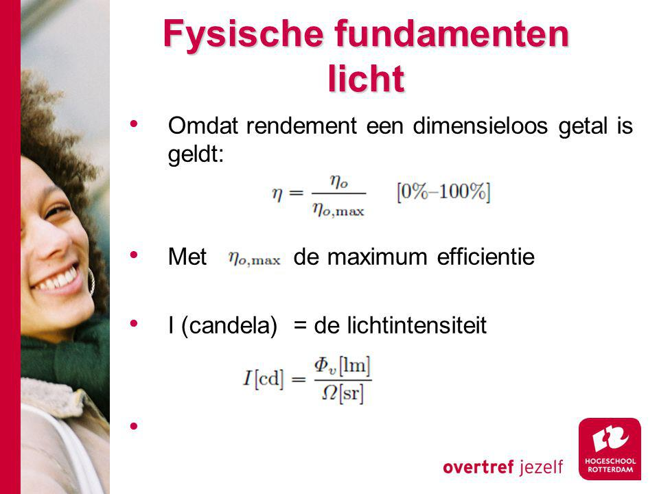 Fysische fundamenten licht Omdat rendement een dimensieloos getal is geldt: Met de maximum efficientie I (candela) = de lichtintensiteit