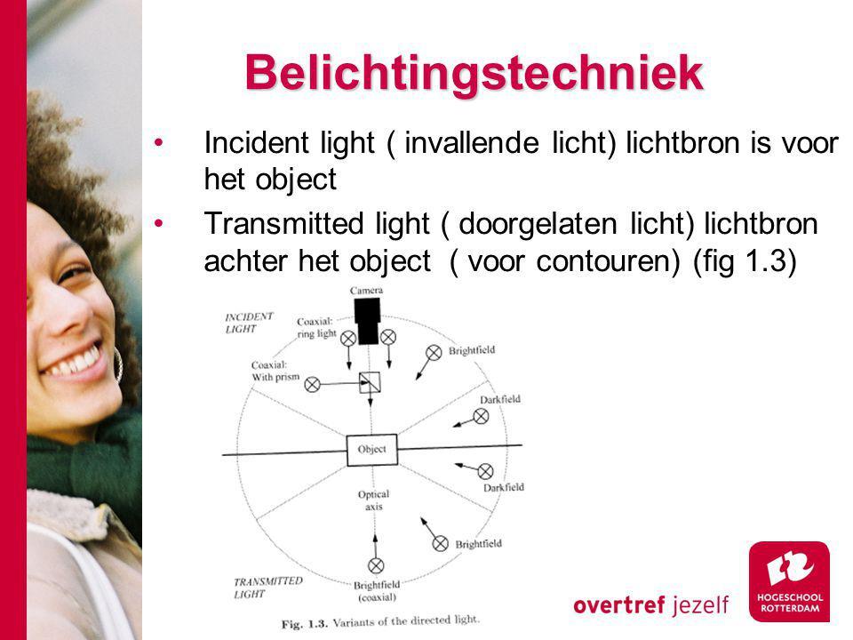 Belichtingstechniek Incident light ( invallende licht) lichtbron is voor het object Transmitted light ( doorgelaten licht) lichtbron achter het object