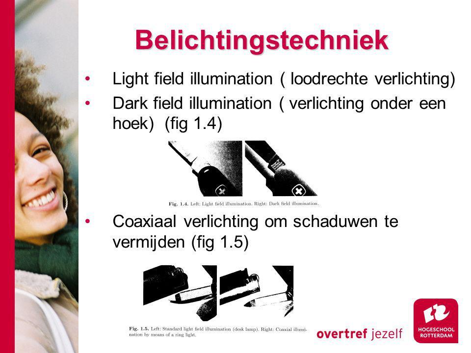 Belichtingstechniek Light field illumination ( loodrechte verlichting) Dark field illumination ( verlichting onder een hoek) (fig 1.4) Coaxiaal verlichting om schaduwen te vermijden (fig 1.5)