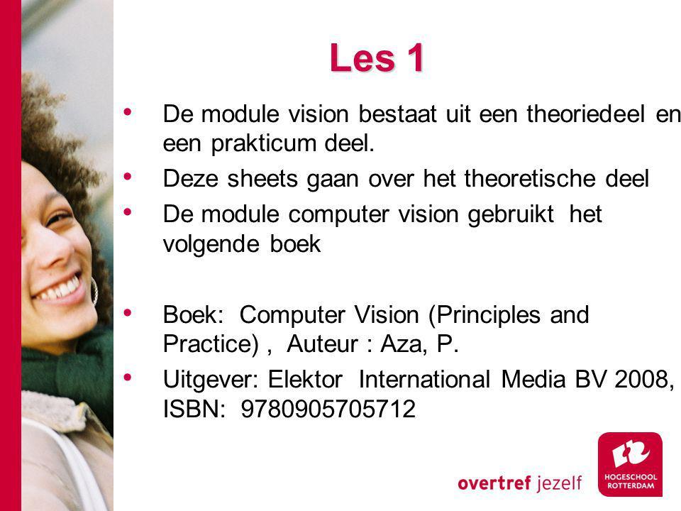 Les 1 De module vision bestaat uit een theoriedeel en een prakticum deel. Deze sheets gaan over het theoretische deel De module computer vision gebrui