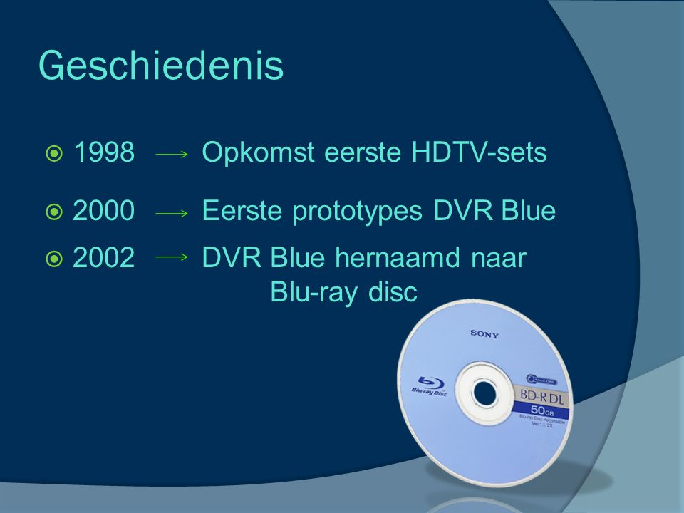 Geschiedenis  2003 Eerste Blu-ray speler  2006 Blu-ray disc en HD DVD te koop  2008 Toshiba stopt: Einde HD DVD