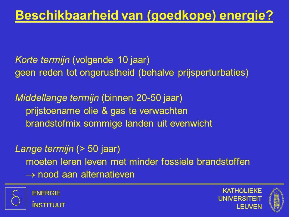 ENERGIE INSTITUUT KATHOLIEKE UNIVERSITEIT LEUVEN Beschikbaarheid van (goedkope) energie? Korte termijn (volgende 10 jaar) geen reden tot ongerustheid