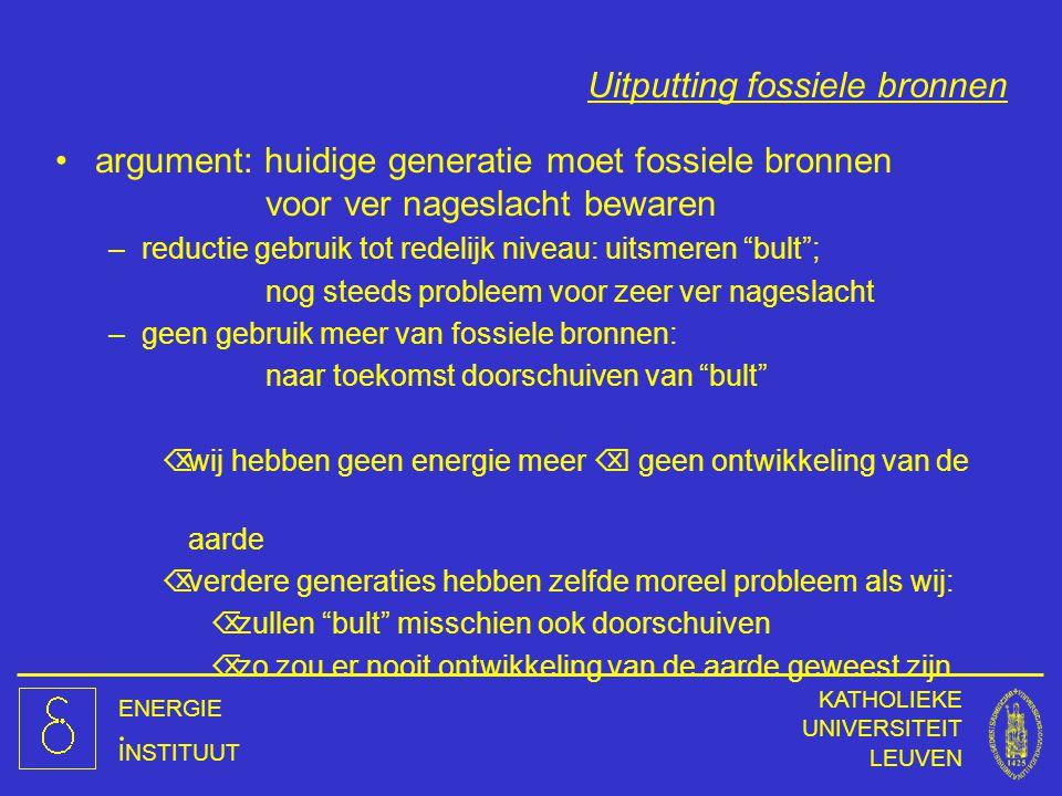 ENERGIE INSTITUUT KATHOLIEKE UNIVERSITEIT LEUVEN Uitputting fossiele bronnen argument: huidige generatie moet fossiele bronnen voor ver nageslacht bew