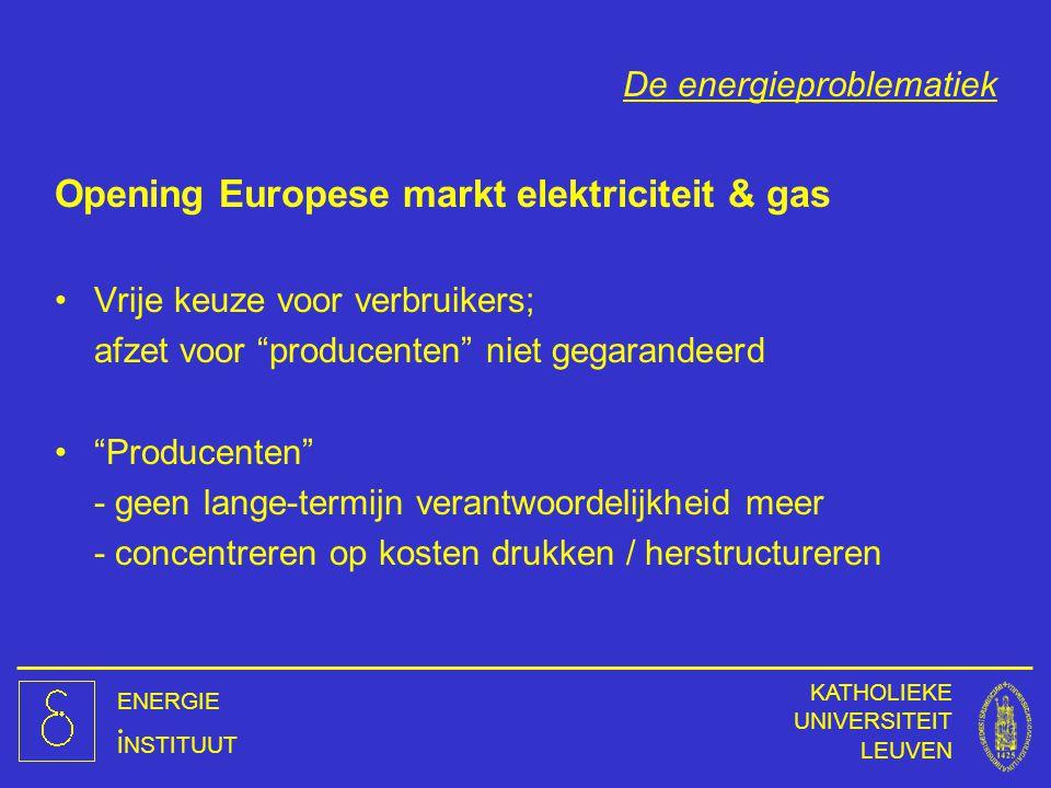 ENERGIE INSTITUUT KATHOLIEKE UNIVERSITEIT LEUVEN De energieproblematiek Opening Europese markt elektriciteit & gas Vrije keuze voor verbruikers; afzet
