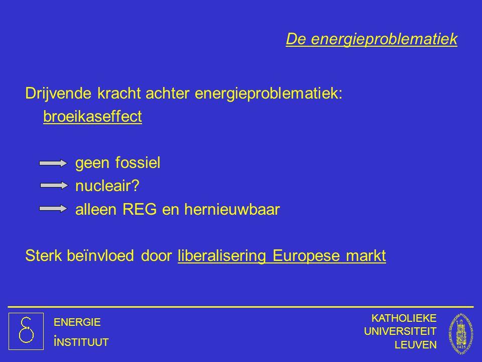 ENERGIE INSTITUUT KATHOLIEKE UNIVERSITEIT LEUVEN De energieproblematiek Drijvende kracht achter energieproblematiek: broeikaseffect geen fossiel nucle