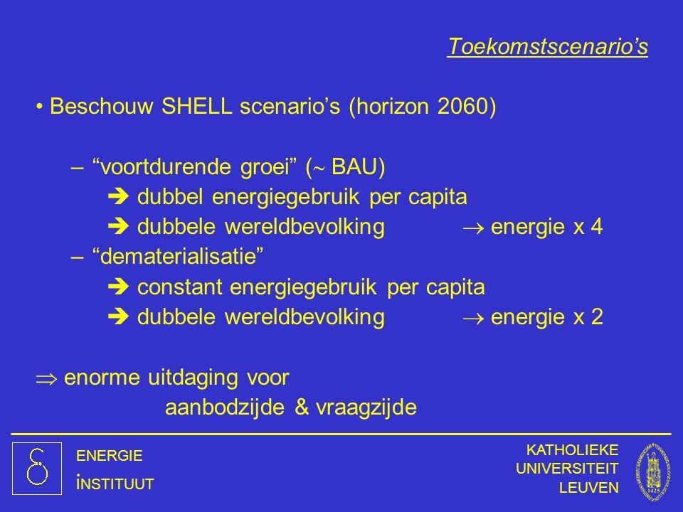 """ENERGIE INSTITUUT KATHOLIEKE UNIVERSITEIT LEUVEN Beschouw SHELL scenario's (horizon 2060) –""""voortdurende groei"""" (  BAU)  dubbel energiegebruik per c"""