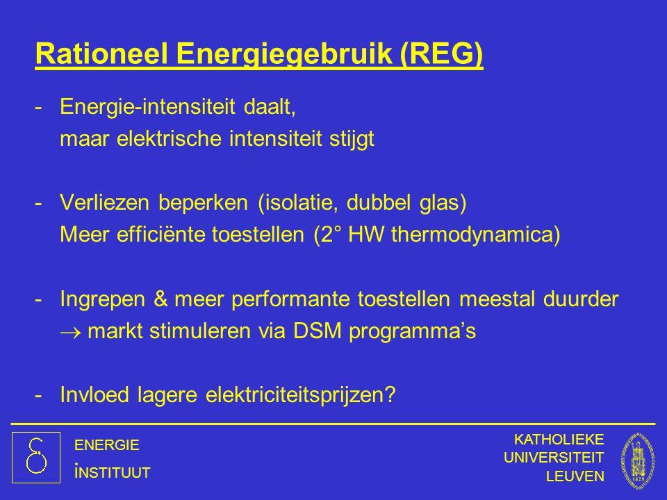 ENERGIE INSTITUUT KATHOLIEKE UNIVERSITEIT LEUVEN Rationeel Energiegebruik (REG) -Energie-intensiteit daalt, maar elektrische intensiteit stijgt -Verli