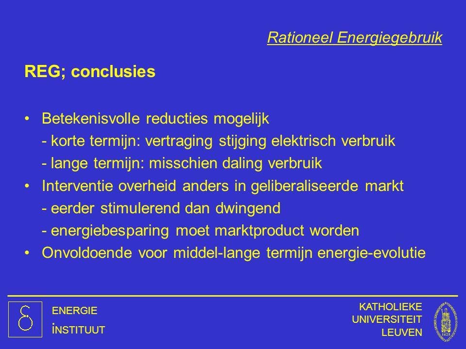 ENERGIE INSTITUUT KATHOLIEKE UNIVERSITEIT LEUVEN Rationeel Energiegebruik REG; conclusies Betekenisvolle reducties mogelijk - korte termijn: vertragin