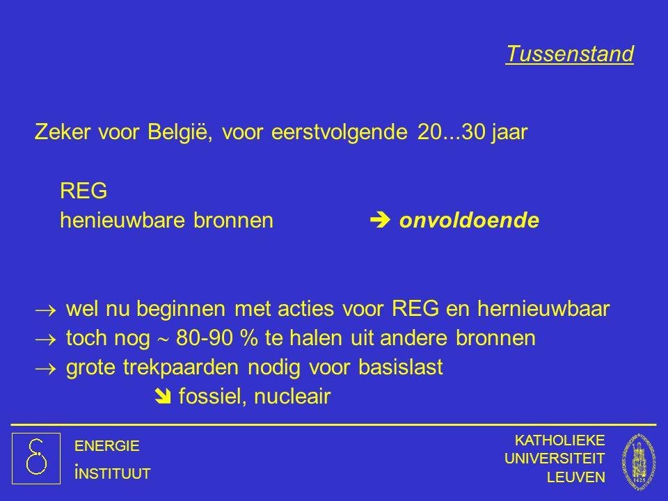 ENERGIE INSTITUUT KATHOLIEKE UNIVERSITEIT LEUVEN Tussenstand Zeker voor België, voor eerstvolgende 20...30 jaar REG henieuwbare bronnen  onvoldoende