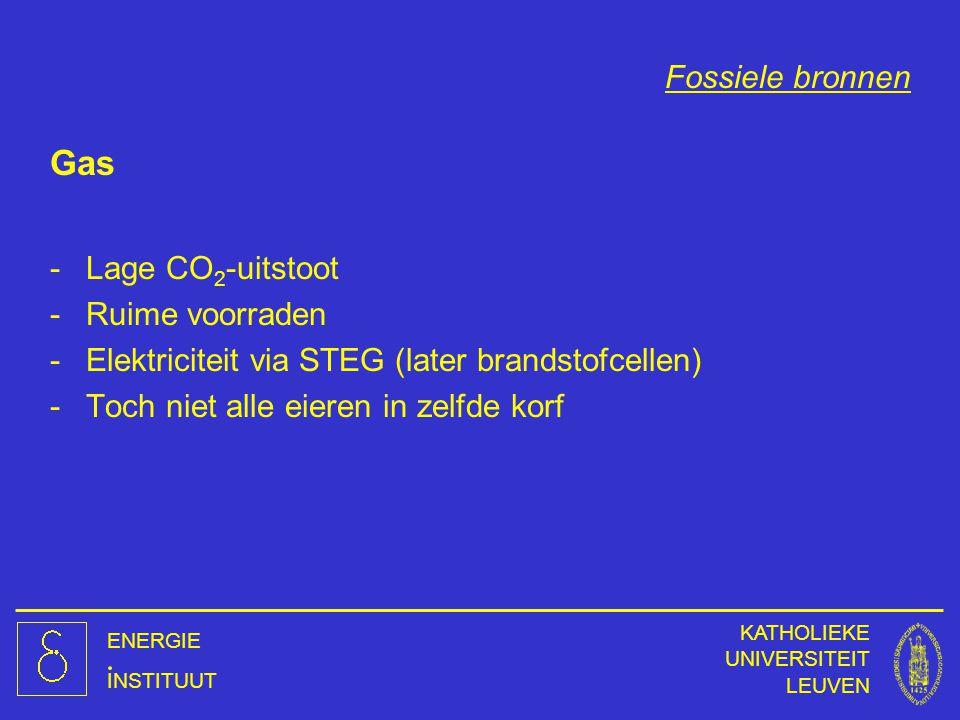 ENERGIE INSTITUUT KATHOLIEKE UNIVERSITEIT LEUVEN Fossiele bronnen Gas -Lage CO 2 -uitstoot -Ruime voorraden -Elektriciteit via STEG (later brandstofce