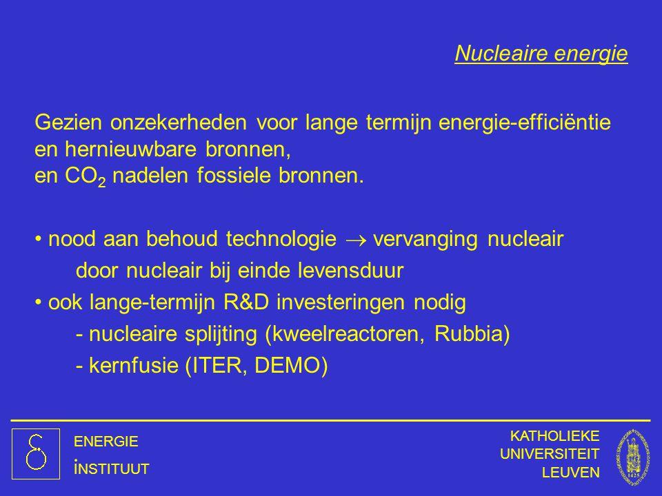 ENERGIE INSTITUUT KATHOLIEKE UNIVERSITEIT LEUVEN Nucleaire energie Gezien onzekerheden voor lange termijn energie-efficiëntie en hernieuwbare bronnen,