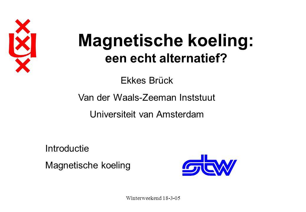 Winterweekend 18-3-05 Magnetische koeling: een echt alternatief? Ekkes Brück Van der Waals-Zeeman Inststuut Universiteit van Amsterdam Introductie Mag