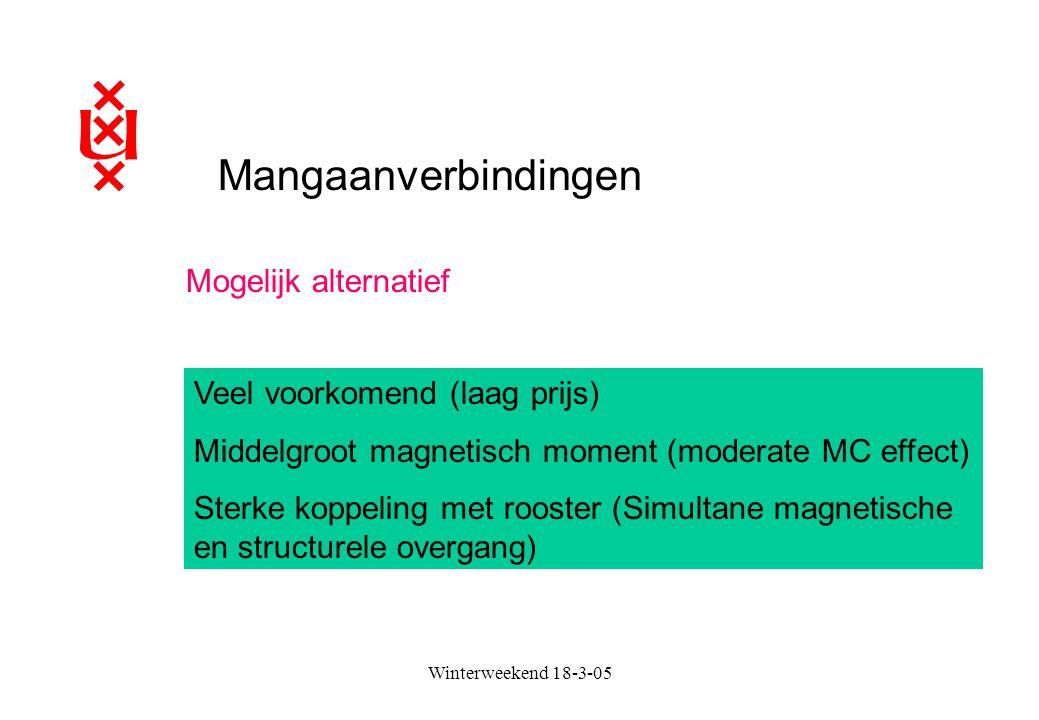 Mangaanverbindingen Veel voorkomend (laag prijs) Middelgroot magnetisch moment (moderate MC effect) Sterke koppeling met rooster (Simultane magnetisch