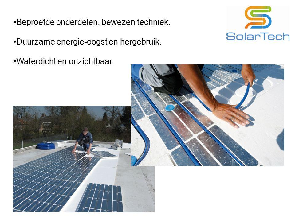 Beproefde onderdelen, bewezen techniek. Duurzame energie-oogst en hergebruik. Waterdicht en onzichtbaar.