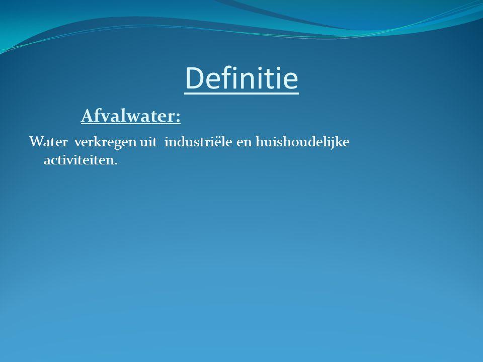 Definitie Afvalwater: Water verkregen uit industriële en huishoudelijke activiteiten.