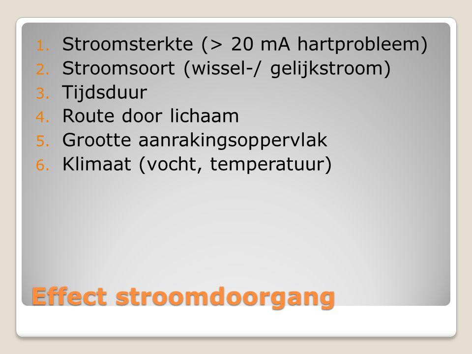 Effect stroomdoorgang 1. Stroomsterkte (> 20 mA hartprobleem) 2. Stroomsoort (wissel-/ gelijkstroom) 3. Tijdsduur 4. Route door lichaam 5. Grootte aan