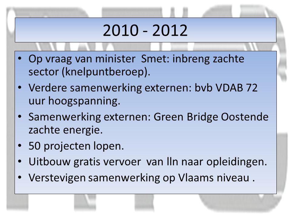 2010 - 2012 Op vraag van minister Smet: inbreng zachte sector (knelpuntberoep).