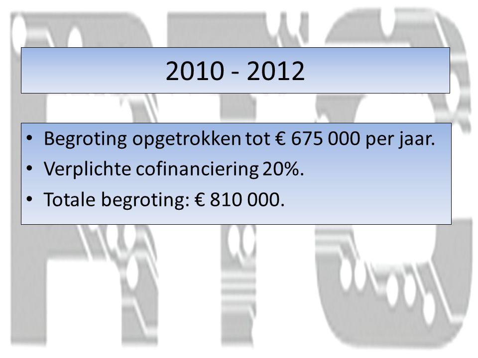 2010 - 2012 Begroting opgetrokken tot € 675 000 per jaar.