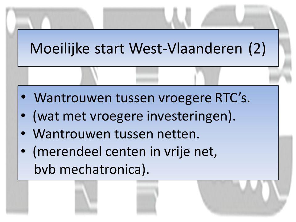 Moeilijke start West-Vlaanderen (2) Wantrouwen tussen vroegere RTC's.