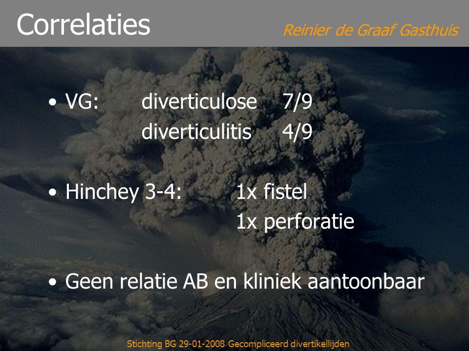 Reinier de Graaf Gasthuis Stichting BG 29-01-2008 Gecompliceerd divertikellijden Correlaties VG: diverticulose7/9 diverticulitis4/9 Hinchey 3-4: 1x fi