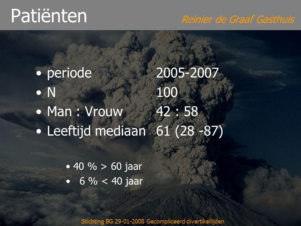 Reinier de Graaf Gasthuis Stichting BG 29-01-2008 Gecompliceerd divertikellijden Patiënten periode 2005-2007 N 100 Man : Vrouw42 : 58 Leeftijd mediaan