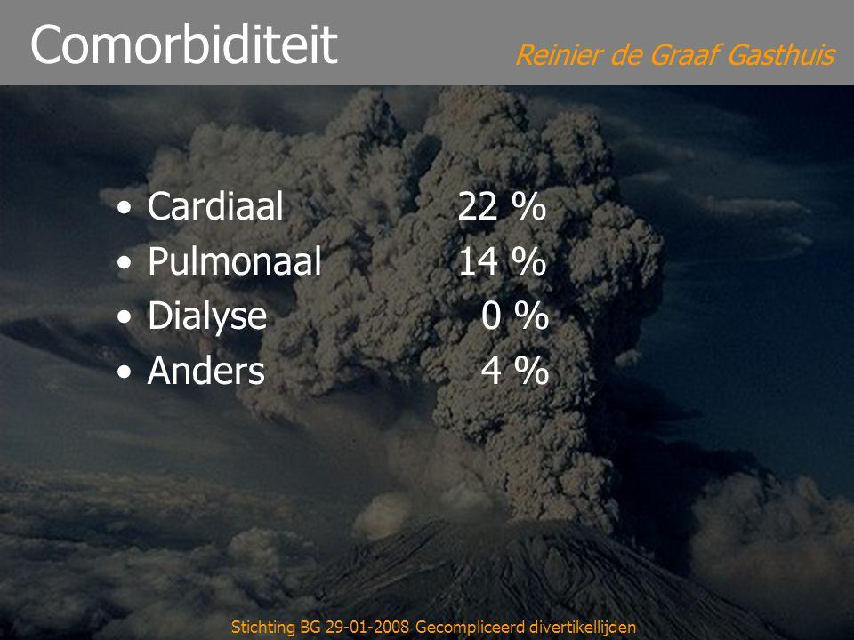 Reinier de Graaf Gasthuis Stichting BG 29-01-2008 Gecompliceerd divertikellijden Comorbiditeit Cardiaal 22 % Pulmonaal 14 % Dialyse 0 % Anders 4 %