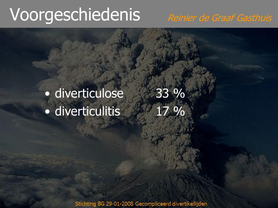 Reinier de Graaf Gasthuis Stichting BG 29-01-2008 Gecompliceerd divertikellijden Voorgeschiedenis diverticulose33 % diverticulitis17 %