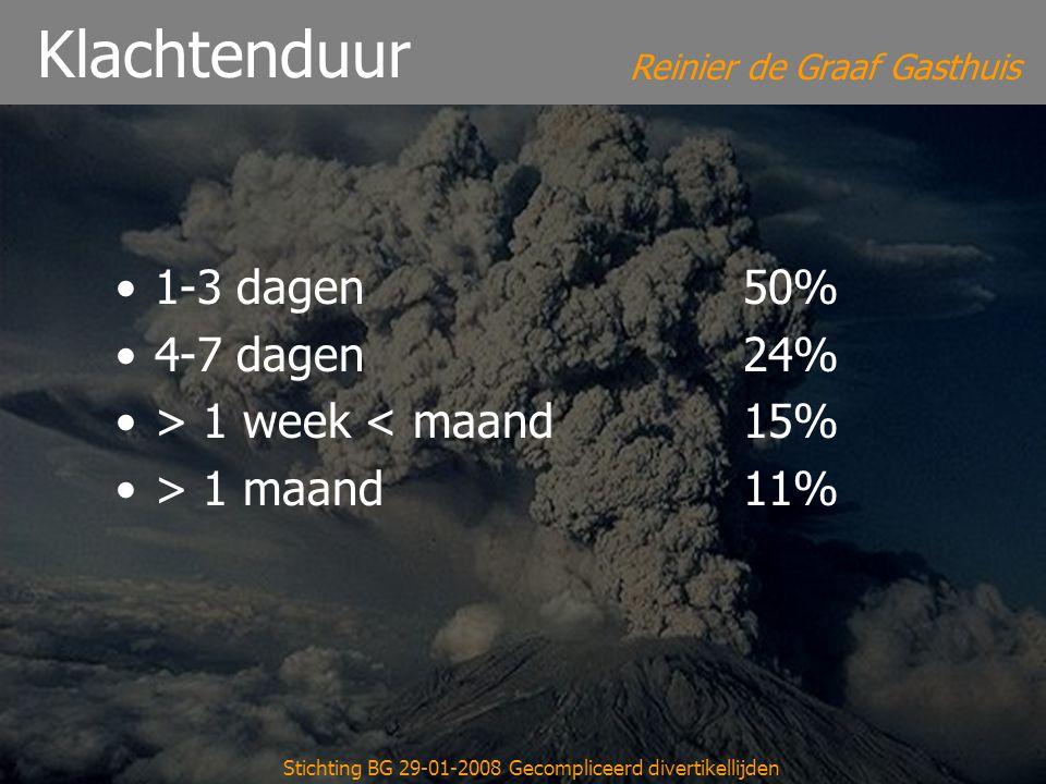 Reinier de Graaf Gasthuis Stichting BG 29-01-2008 Gecompliceerd divertikellijden Klachtenduur 1-3 dagen50% 4-7 dagen24% > 1 week < maand15% > 1 maand1