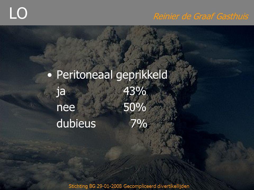 Reinier de Graaf Gasthuis Stichting BG 29-01-2008 Gecompliceerd divertikellijden LO Peritoneaal geprikkeld ja43% nee50% dubieus 7%