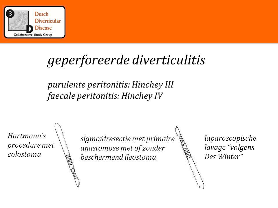 Inleiding Geperforeerde diverticulitis (Hinchey III en IV) Ladies trial laparoscopie: purulent of faecaal.