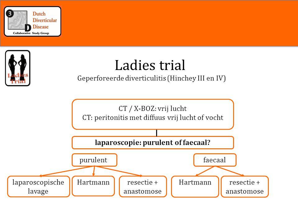 Inleiding laparoscopische lavage resectie + anastomose Hartmann purulentfaecaal Hartmann laparoscopie: purulent of faecaal.
