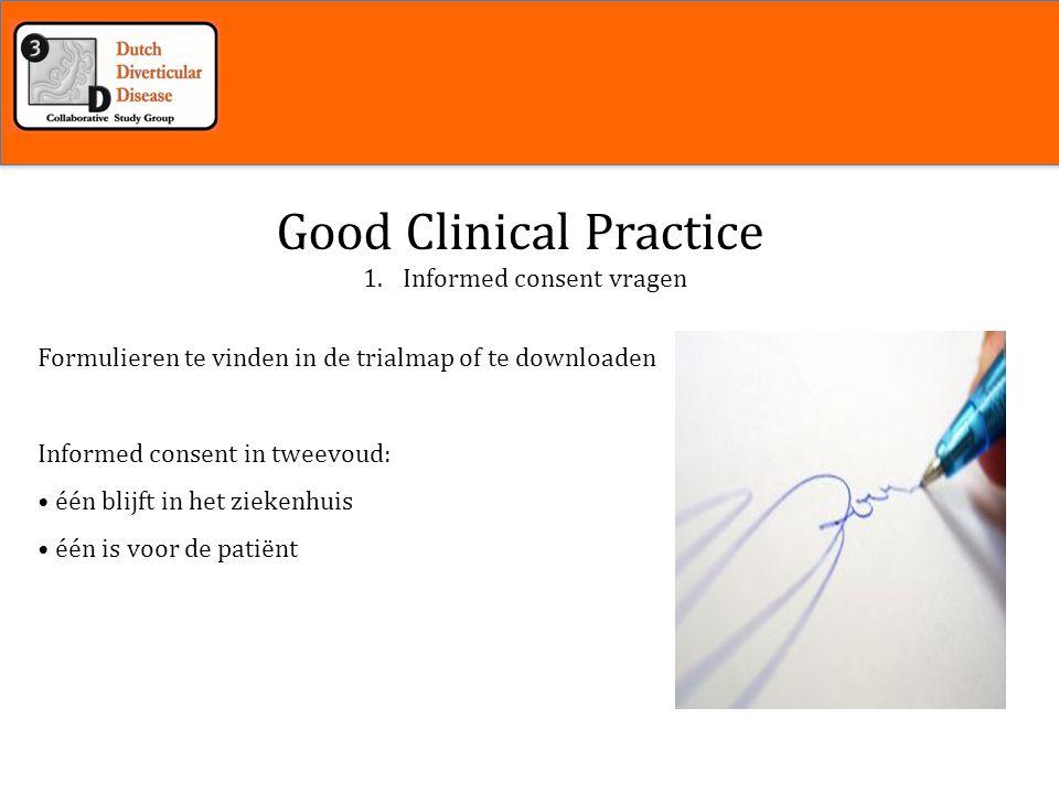 Inleiding 1.Informed consent vragen Good Clinical Practice Is de patiënt aanspreekbaar.