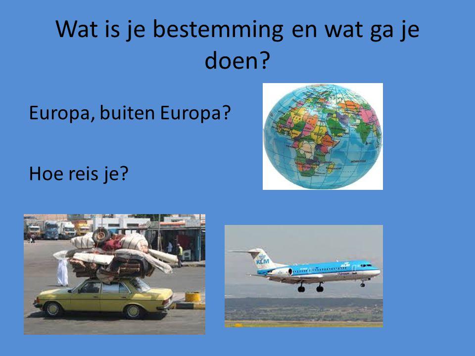Wat is je bestemming en wat ga je doen? Europa, buiten Europa? Hoe reis je?
