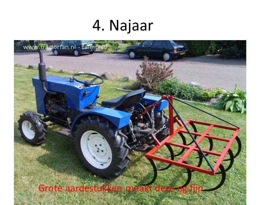5.Najaar De zaaimachine maakt gleuven in de grond.
