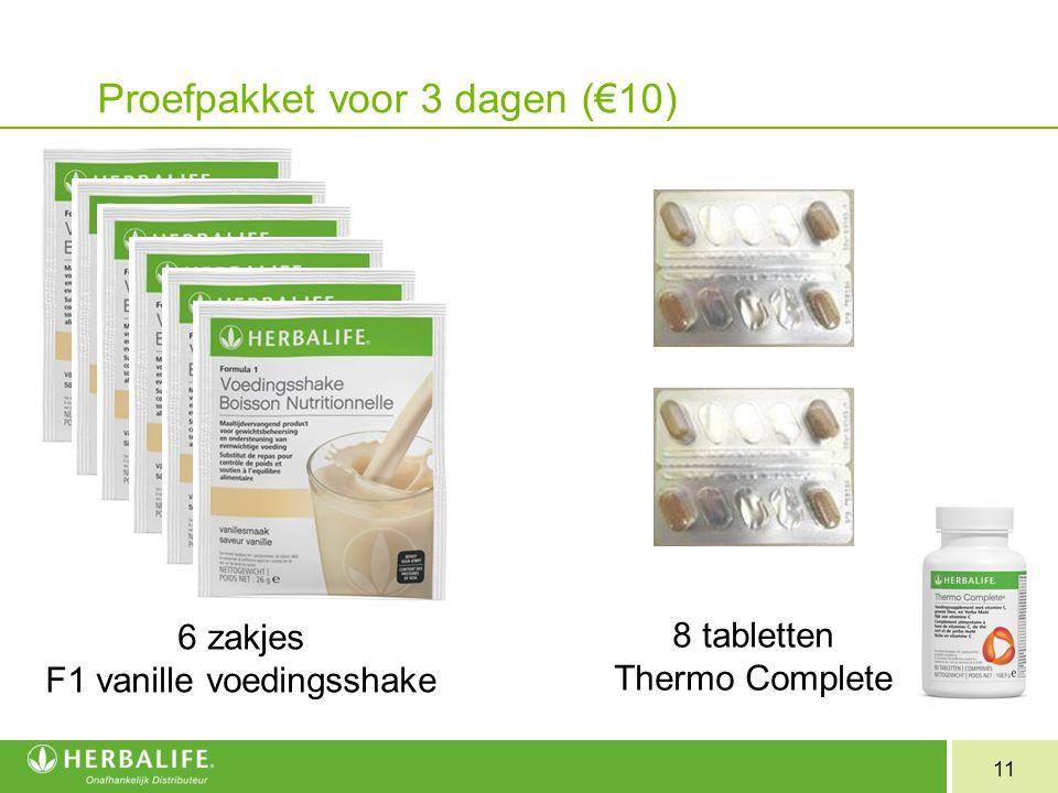 11 Proefpakket voor 3 dagen (€10) 6 zakjes F1 vanille voedingsshake 8 tabletten Thermo Complete