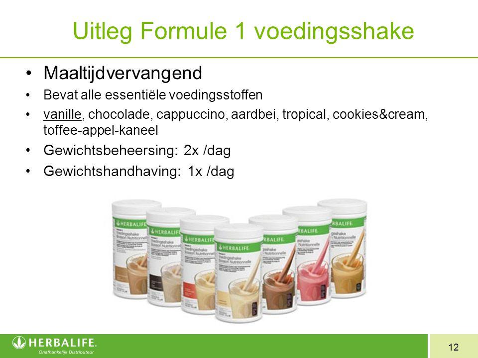 12 Uitleg Formule 1 voedingsshake Maaltijdvervangend Bevat alle essentiële voedingsstoffen vanille, chocolade, cappuccino, aardbei, tropical, cookies&