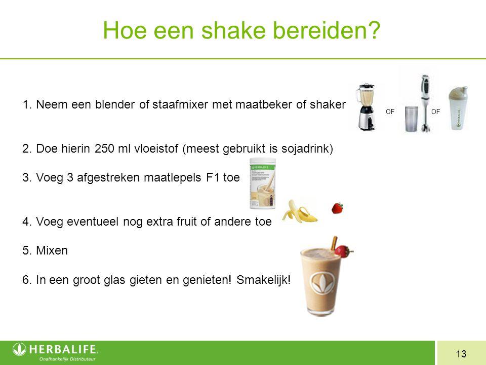 13 OF Hoe een shake bereiden? 1. Neem een blender of staafmixer met maatbeker of shaker 2. Doe hierin 250 ml vloeistof (meest gebruikt is sojadrink) 3