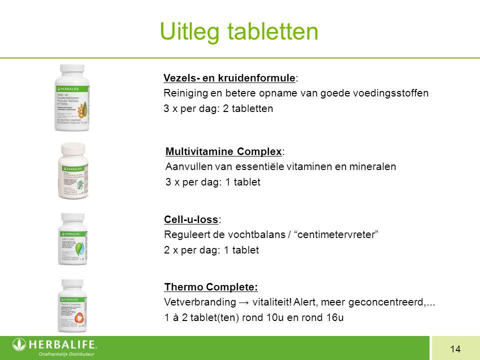 14 Uitleg tabletten Vezels- en kruidenformule: Reiniging en betere opname van goede voedingsstoffen 3 x per dag: 2 tabletten Multivitamine Complex: Aa