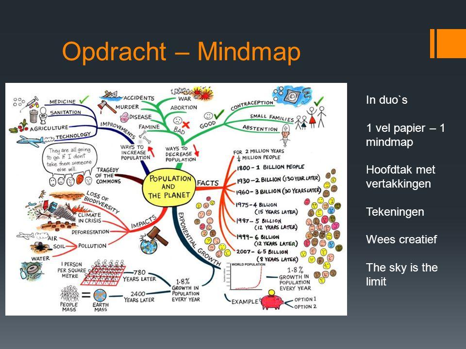 Opdracht – Mindmap In duo`s 1 vel papier – 1 mindmap Hoofdtak met vertakkingen Tekeningen Wees creatief The sky is the limit
