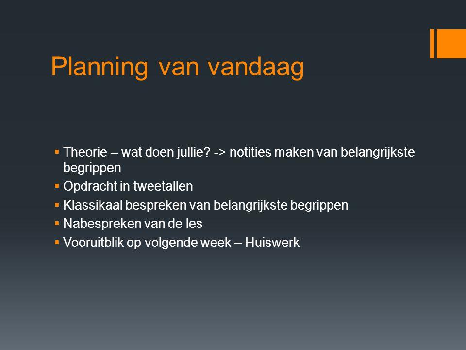 Planning van vandaag  Theorie – wat doen jullie? -> notities maken van belangrijkste begrippen  Opdracht in tweetallen  Klassikaal bespreken van be
