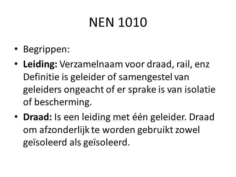NEN 1010 Begrippen: Leiding: Verzamelnaam voor draad, rail, enz Definitie is geleider of samengestel van geleiders ongeacht of er sprake is van isolat