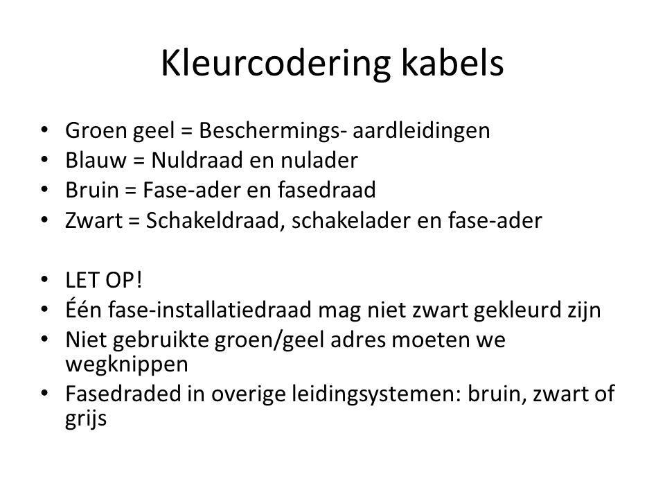Kleurcodering kabels Groen geel = Beschermings- aardleidingen Blauw = Nuldraad en nulader Bruin = Fase-ader en fasedraad Zwart = Schakeldraad, schakel