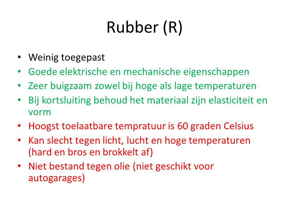 Rubber (R) Weinig toegepast Goede elektrische en mechanische eigenschappen Zeer buigzaam zowel bij hoge als lage temperaturen Bij kortsluiting behoud