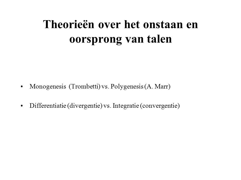 Theorieën over het onstaan en oorsprong van talen Monogenesis (Trombetti) vs.
