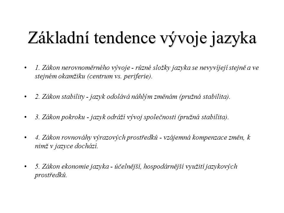 Základní tendence vývoje jazyka 1.