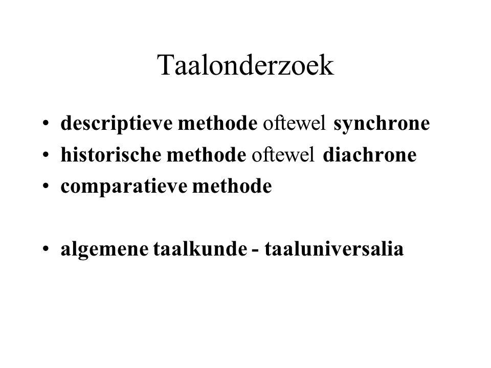 Taalonderzoek descriptieve methode oftewel synchrone historische methode oftewel diachrone comparatieve methode algemene taalkunde - taaluniversalia