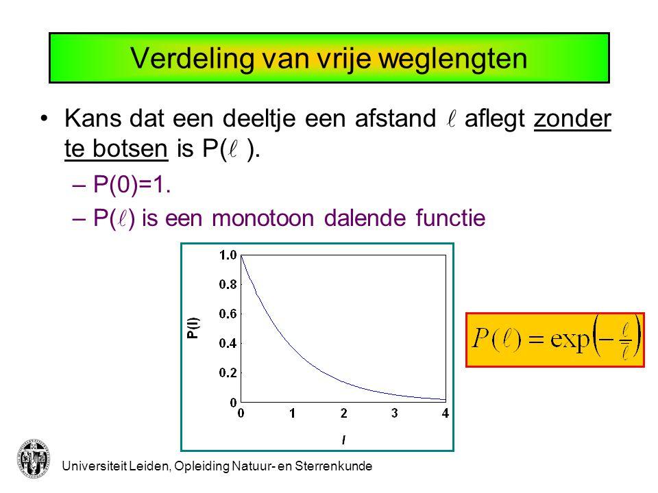 Universiteit Leiden, Opleiding Natuur- en Sterrenkunde Verdeling van vrije weglengten Kans dat een deeltje een afstand aflegt zonder te botsen is P( )
