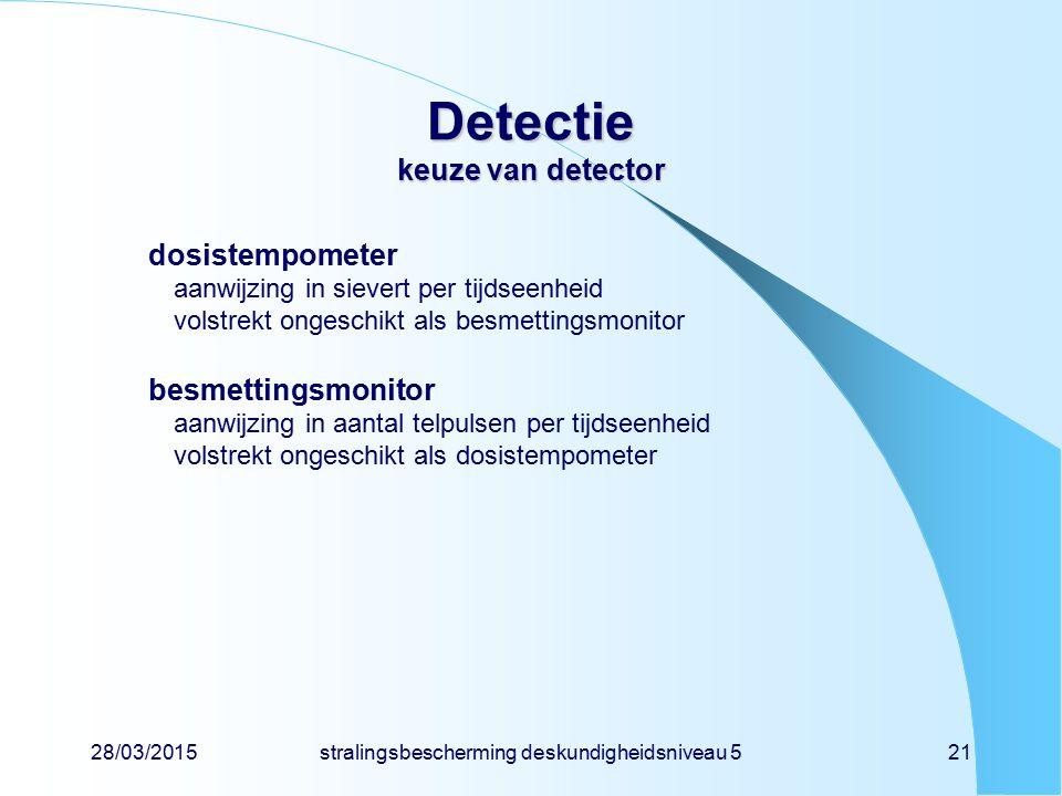 28/03/2015stralingsbescherming deskundigheidsniveau 521 Detectie keuze van detector dosistempometer aanwijzing in sievert per tijdseenheid volstrekt o