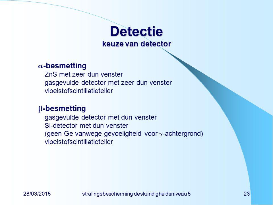 28/03/2015stralingsbescherming deskundigheidsniveau 523 Detectie keuze van detector  -besmetting ZnS met zeer dun venster gasgevulde detector met zee