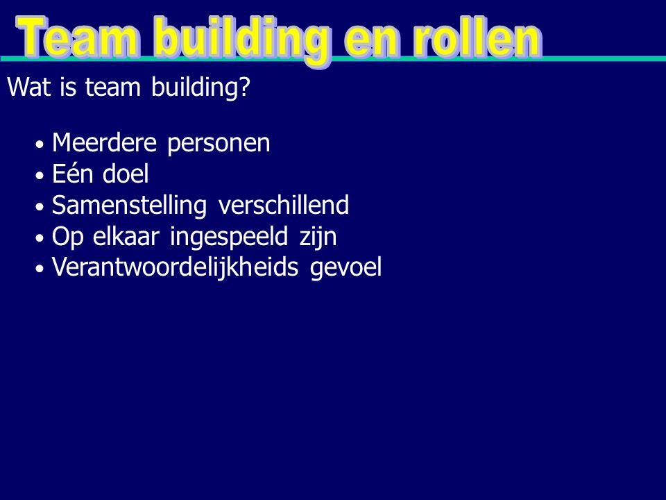 Meerdere personen Eén doel Samenstelling verschillend Op elkaar ingespeeld zijn Verantwoordelijkheids gevoel Wat is team building